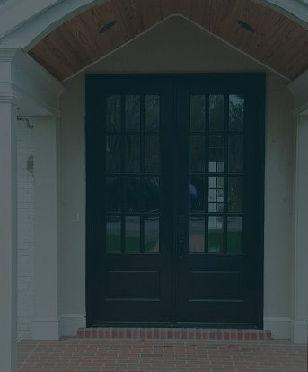 Photo of a double door installation with 12 thin windows in each